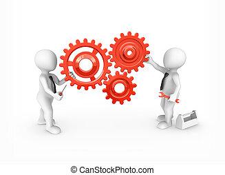 tools., persone, ingranaggi, piccolo, rosso, 3d