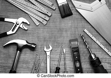 Tools - Assorted work tools on wood