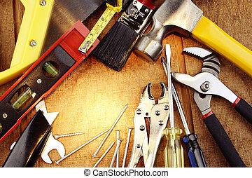 Tools - Assorted work tools on wood