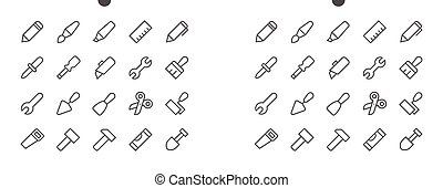 Tools Pixel Perfect Well-crafted Vector Thin Line Icons 48x48 Ready for 24x24 Grid for Web Graphics and Apps with Editable Stroke. Simple Minimal Pictogram