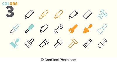 Tools Pixel Perfect Well-crafted Vector Thin Line Icons 48x48 Ready for 24x24 Grid for Web Graphics and Apps with Editable Stroke. Simple Minimal Pictogram Part 1