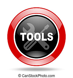 tools red and black web glossy round icon