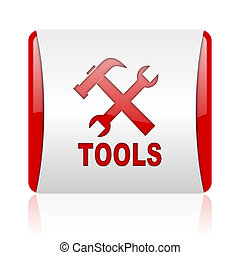 tools red and white square web glossy icon