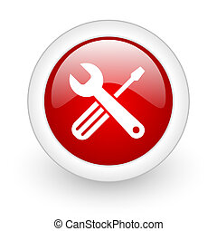 tools red circle glossy web icon on white background