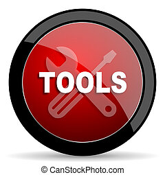 tools red circle glossy web icon on white background - set440