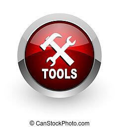 tools red circle web glossy icon