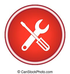 tools red circle web icon on white background
