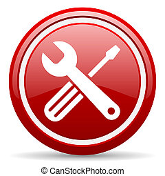 tools red glossy icon on white background - red circle ...