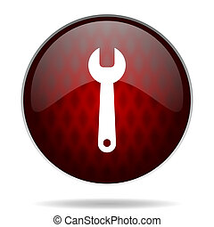 tools red glossy web icon on white background