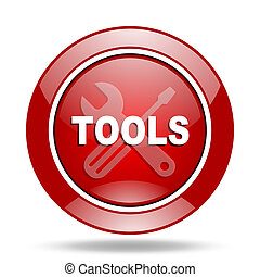tools red web glossy round icon