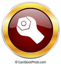 Tools red web icon with golden border isolated on white background. Round glossy button.