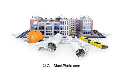 tools., residencial, modernos, ilustração, complexo, plano, fundo, branca, europeu, desenho, 3d