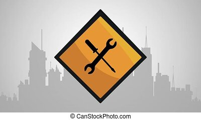 Tools road sign over cityscape HD definition - Construction...