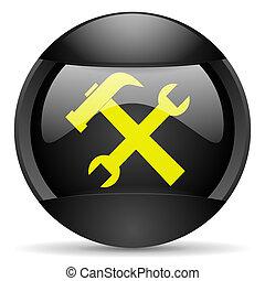 tools round black web icon on white background
