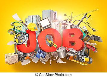 tools., słowo, praca, ilustracja, praca, 3d
