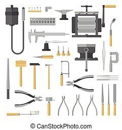 tools., satz, schmuck