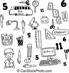 Tools school doodles collection