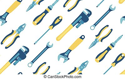 Tools: screwdrivers, pliers, pipe wrenches, spanners. Seamless pattern. Vector.