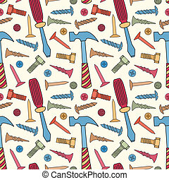 Tools seamless bright color pattern. Vector cartoon...