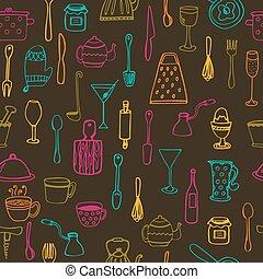 tools., seamless, fundo, cozinha