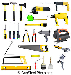 tools set isolated on a white background