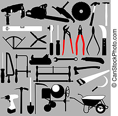 tools set - large set og different tools with high detail