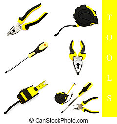 tools set - set of different tools over white background