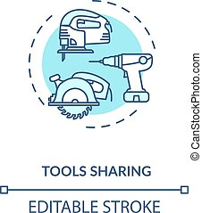 Tools sharing turquoise concept icon