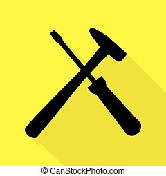 Tools sign illustration. Black icon with flat style shadow path on yellow background.