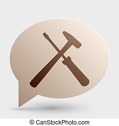 Tools sign illustration. Brown gradient icon on bubble with shadow.