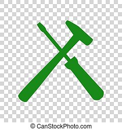 Tools sign illustration. Dark green icon on transparent...