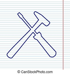 Tools sign illustration. Vector. Navy line icon on notebook...
