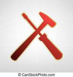 Tools sign illustration. Vector. Red icon on gold sticker at...