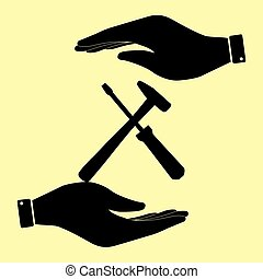 Save or protect symbol by hands. - Tools sign. Save or...