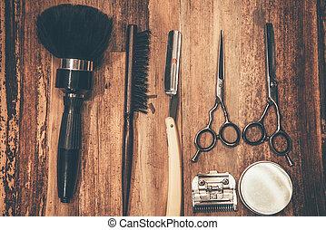 tools., sommet, salon coiffure, bois, coiffeur, grain, outils, mensonge, vue