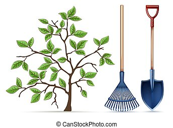 tools., spring., ancinho, equipamento, pá, vector., jardinagem