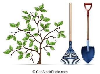 tools., spring., râteau, équipement, pelle, vector., jardinage