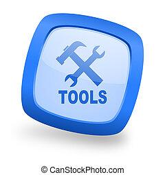 tools square glossy blue web design icon