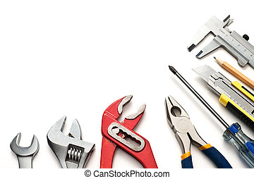 Tools - Group of used tools on white background
