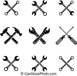 Set of black crosswise tools