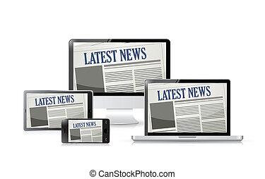 tools., technologie, newspapers., illustratie