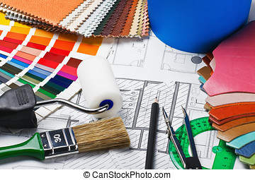 tools to repair the premises and drawing plans