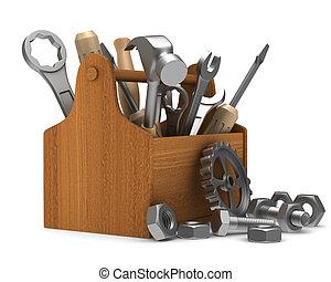 tools., trä, avbild, isolerat, toolbox, 3