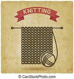 tools., tricot, vendange, symbole, main a fait, fond