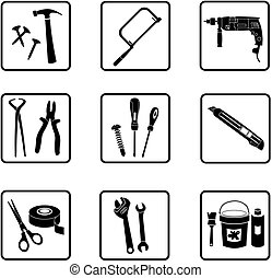 Tools - various industry icons in black and white