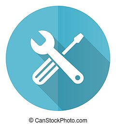 Tools vector icon, flat design blue round web button isolated on white background