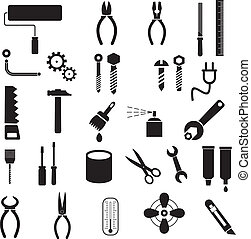 Hand tools - set of vector icons. Isolated symbols on white background. DIY tools.