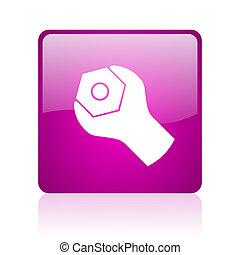 tools violet square web glossy icon