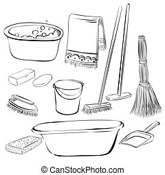 tools with things for cleaning and wash, vector dooddle, eps 8