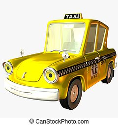 toon, auto, taxifahrzeuge
